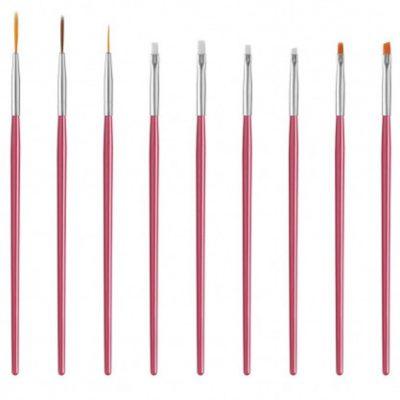 Brak Zestaw 15 pędzelków do zdobienia paznokci - Różówy BRA1DPRO