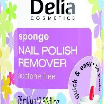 Delia Cosmetics Cosmetics, zmywacz do paznokci z gąbką bez acetonu, 75 ml