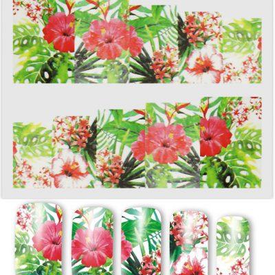 inna marka NAKLEJKI WODNE A157 - kwiat hibiskus monstera 5907546881283