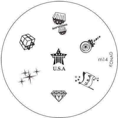Konad Płytka ze wzorkami na paznokcie m14 - 1 szt. Płytki do wzorków