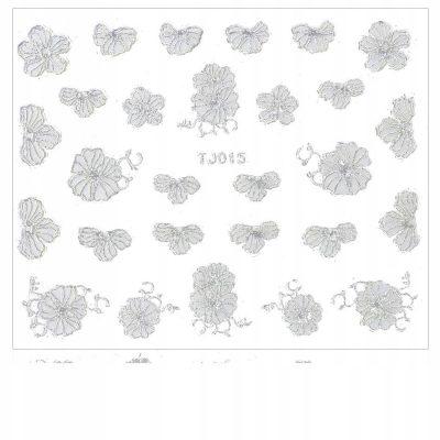Naklejki Do Paznokci 3D Kwiatki TJ015 Białe Srebro