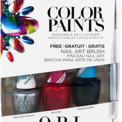 OPI Color Paints + Nail Art Brush Zestaw 3 Lakierów Do Paznokci + Pędzelek Z Sondą Do Zdobienia Paznokci