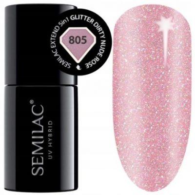 Semilac Extend 5w1 Glitter Dirty Nude Rose 805  7ml