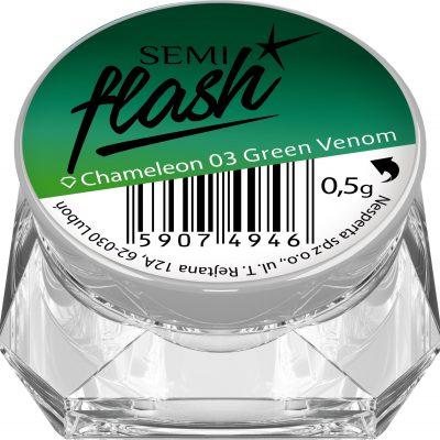 Semilac SemiFlash Efekt kameleona Chameleon Green Venom 03